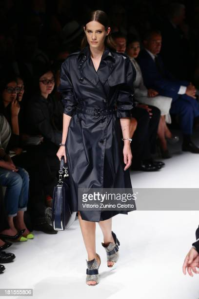 A model walks the runway at the Salvatore Ferragamo show as part of Milan Fashion Week Womenswear Spring/Summer 2014 at on September 22 2013 in Milan...