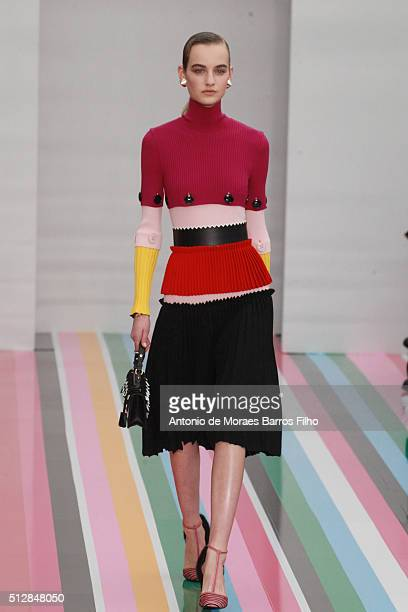 A model walks the runway at the Salvatore Ferragamo show during Milan Fashion Week Fall/Winter 2016/17 on February 29 2016 in Milan Italy