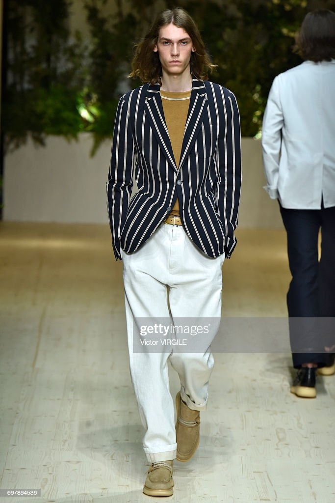 A model walks the runway at the Salvatore Ferragamo show during Milan Men's Fashion Week Spring/Summer 2018 on June 18, 2017 in Milan, Italy.