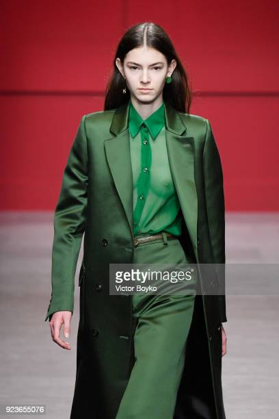 A model walks the runway at the Salvatore Ferragamo show during Milan Fashion Week Fall/Winter 2018/19 on February 24 2018 in Milan Italy