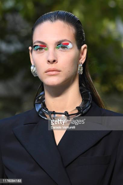 A model walks the runway at the Salvatore Ferragamo show during the Milan Fashion Week Spring/Summer 2020 on September 21 2019 in Milan Italy