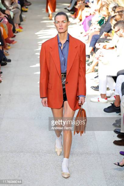 Model walks the runway at the Salvatore Ferragamo show during the Milan Fashion Week Spring/Summer 2020 on September 21, 2019 in Milan, Italy.