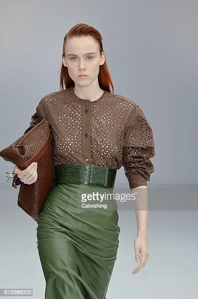 Model walks the runway at the Salvatore Ferragamo Spring Summer 2017 fashion show during Milan Fashion Week on September 25, 2016 in Milan, Italy.