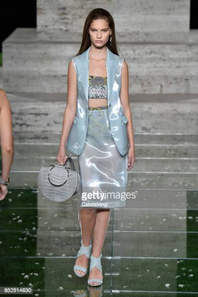 A model walks the runway at the Salvatore Ferragamo Spring Summer 2018 fashion show during Milan Fashion Week on September 23 2017 in Milan Italy