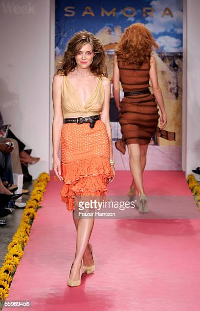 A model walks the runway at the Samora Spring 2006 show during MercedesBenz Fashion Week at Smashbox Studios on October 19 2005 in Culver City...