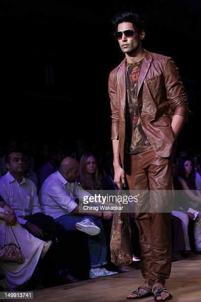 A model walks the runway at the Sanchita Ajjampur show at The Lakme Fashion Week Winter/Festive 2012 day 4 at the Grand Hyatt on August 6 2012 in...