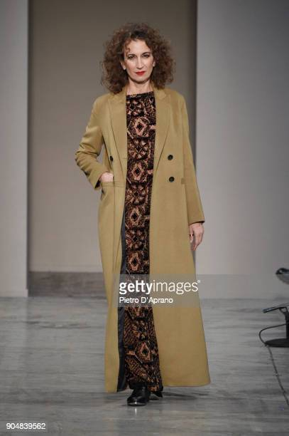 A model walks the runway at the Sartorial Monk show during Milan Men's Fashion Week Fall/Winter 2018/19 on January 14 2018 in Milan Italy