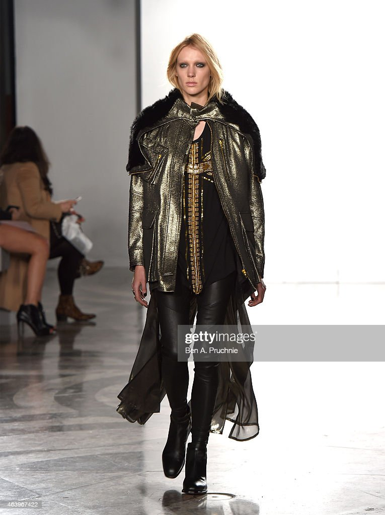 A model walks the runway at the sass & bide show during London Fashion Week Fall/Winter 2015/16 at Australia House on February 20, 2015 in London, England.