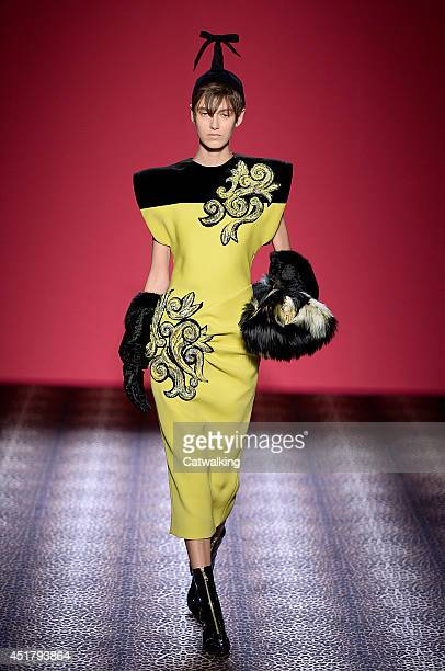 Model walks the runway at the Schiaparelli Autumn Winter 2014 fashion show during Paris Haute Couture Fashion Week on July 7, 2014 in Paris, France.