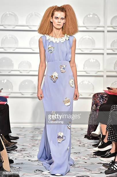 A model walks the runway at the Schiaparelli Spring Summer 2016 fashion show during Paris Haute Couture Fashion Week on January 25 2016 in Paris...