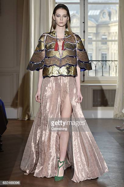 A model walks the runway at the Schiaparelli Spring Summer 2017 fashion show during Paris Haute Couture Fashion Week on January 23 2017 in Paris...