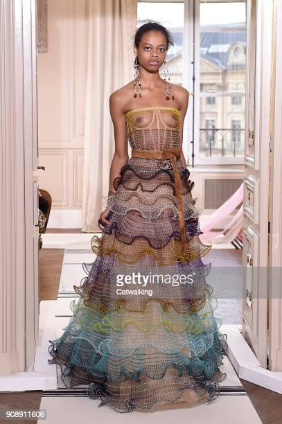 A model walks the runway at the Schiaparelli Spring Summer 2018 fashion show during Paris Haute Couture Fashion Week on January 22 2018 in Paris...