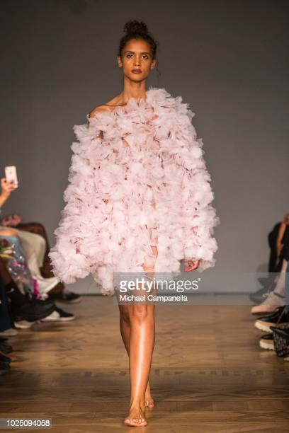 A model walks the runway at the Selam Fessahaye show during Stockholm Runway SS19 at Grand Hotel on August 29 2018 in Stockholm Sweden
