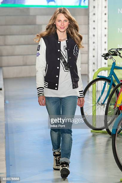 A model walks the runway at the Selena Gomez Adidas NEO Label Show during MercedesBenz Fashion Week Spring 2015 at The Waterfront on September 3 2014...