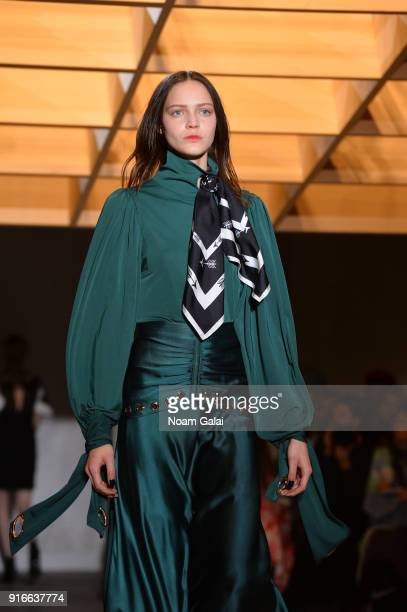 A model walks the runway at the SelfPortrait fashion show during New York Fashion Week at SIR Stage37 on February 10 2018 in New York City