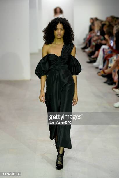 Model walks the runway at the Self-Portrait Public Show during London Fashion Week September 2019 at the BFC Show Space on September 15, 2019 in...