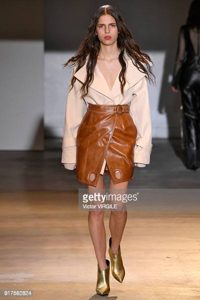 A model walks the runway at the SelfPortrait Ready to Wear Fall/Winter 20182019 fashion show during New York Fashon Week on February 10 2018 in New...