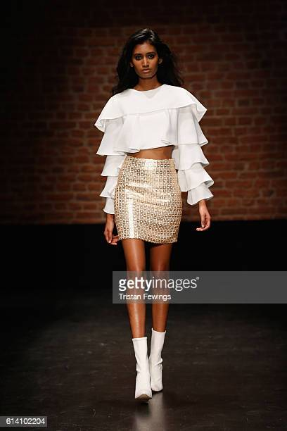 A model walks the runway at the Selma Cilek show during MercedesBenz Fashion Week Istanbul at Zorlu Center on October 12 2016 in Istanbul Turkey