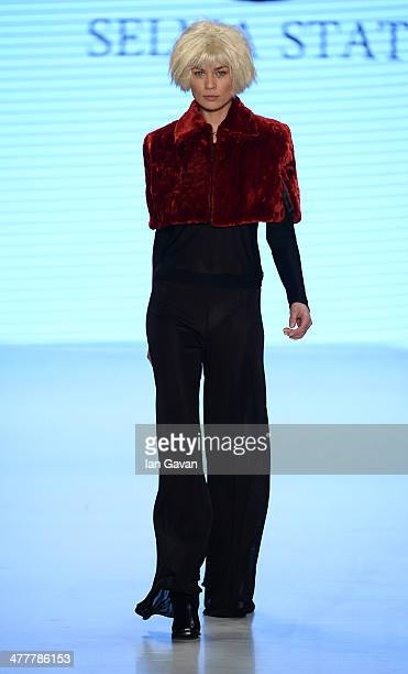 A model walks the runway at the Selma State show during MBFWI presented by American Express Fall/Winter 2014 on March 11 2014 in Istanbul Turkey