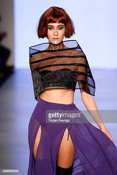 A model walks the runway at the Selma State show during Mercedes Benz Fashion Week Istanbul FW15 on March 18 2015 in Istanbul Turkey