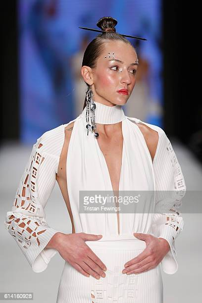 A model walks the runway at the Selma State show during MercedesBenz Fashion Week Istanbul at Zorlu Center on October 12 2016 in Istanbul Turkey