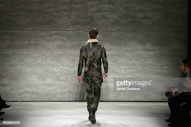 A model walks the runway at the SERGIO DAVILA fashion show during MercedesBenz Fashion Week Fall 2015 at The Pavilion at Lincoln Center on February...