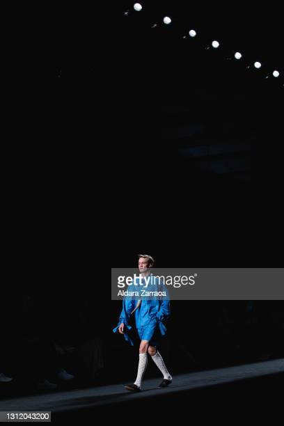 Model walks the runway at the Sergio Villasante fashion show during Samsung EGO Mercedes Benz Fashion Week Madrid April 2021 at Ifema on April 11,...