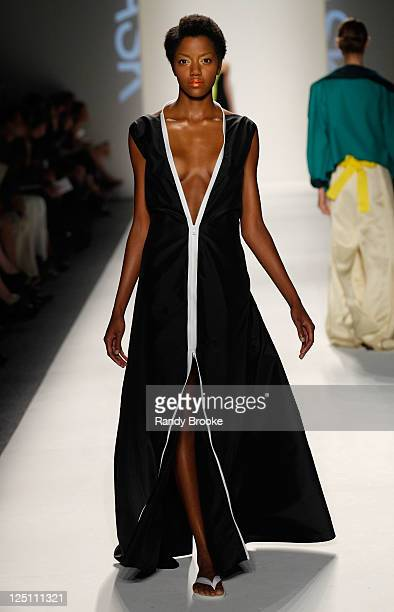 A model walks the runway at the Shamask Spring 2012 fashion show during MercedesBenz Fashion Week at The Studio at Lincoln Center on September 14...