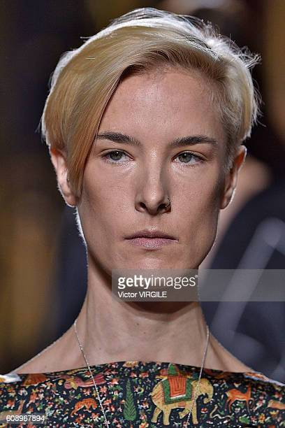 A model walks the runway at the Sharon Wauchob show during London Fashion Week Spring/Summer collections 2016/2017 on September 19 2016 in London...