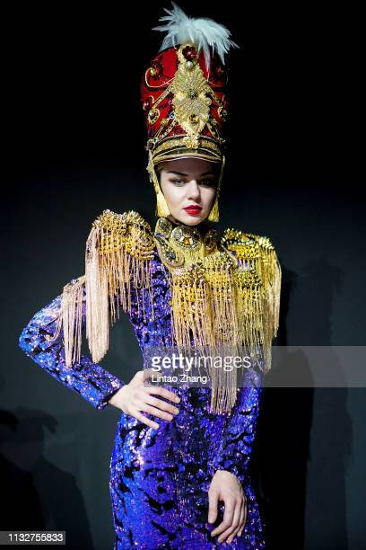 A model walks the runway at the Sheguang Hu Collection show at China Fashion Week A/W 2019/2020 on March 25 2019 in Beijing China