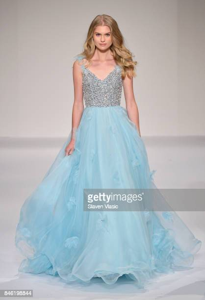 A model walks the runway at the Sherri Hill NYFW SS18 fashion show at Gotham Hall on September 12 2017 in New York City