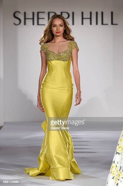A model walks the runway at the Sherri Hill Spring 2016 fashion show during New York Fashion Week at The Plaza Hotel on September 13 2015 in New York...