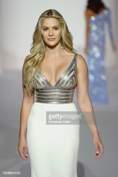 A model walks the runway at the Sherri Hill Spring 2019 NYFW at Gotham Hall on September 7 2018 in New York City