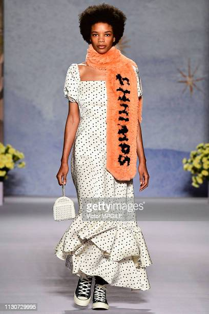 A model walks the runway at the Shrimps Ready to Wear Fall/Winter 20192020 fashion show during London Fashion Week February 2019 on February 19 2019...