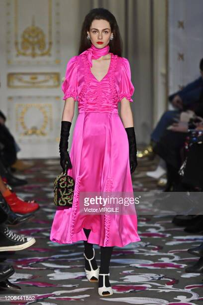 A model walks the runway at the Shrimps Ready to Wear Fall/Winter 20202021 fashion show during London Fashion Week on February 14 2020 in London...