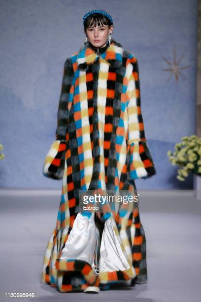 A model walks the runway at the Shrimps show during London Fashion Week February 2019 at Ambika P3 on February 19 2019 in London England