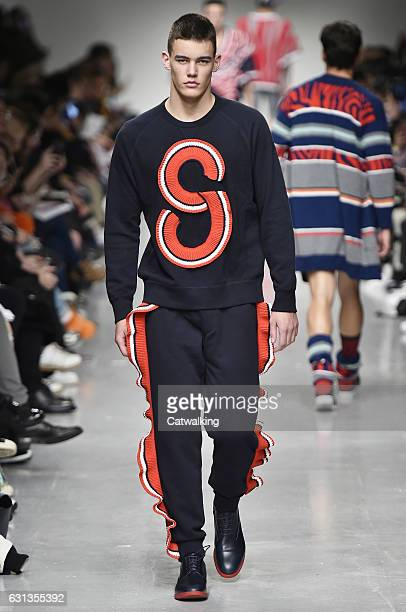 A model walks the runway at the Sibling Autumn Winter 2017 fashion show during London Menswear Fashion Week on January 8 2017 in London United Kingdom