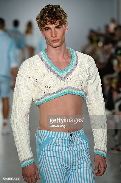 Model walks the runway at the Sibling Spring Summer 2017 fashion show during London Menswear Fashion Week on June 12, 2016 in London, United Kingdom.