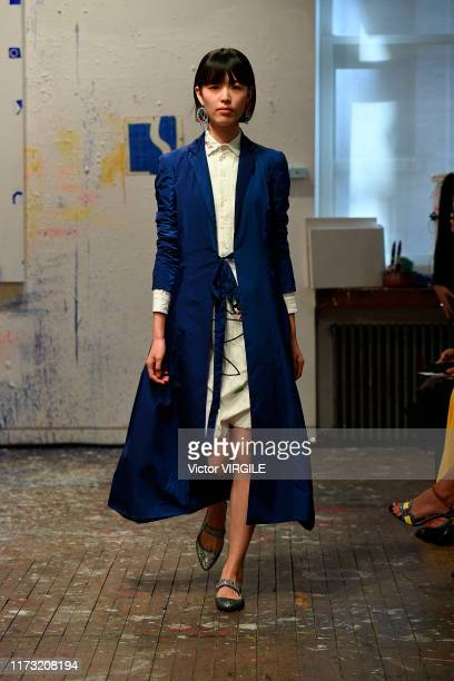 Model walks the runway at the Sies Marjan Ready to Wear Spring/Summer 2020 fashion show during New York Fashion Week on September 08, 2019 in New...