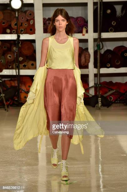 A model walks the runway at the Sies Marjan Spring Summer 2018 fashion show during New York Fashion Week on September 10 2017 in New York United...