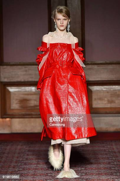 A model walks the runway at the Simone Rocha Autumn Winter 2018 fashion show during London Fashion Week on February 17 2018 in London United Kingdom