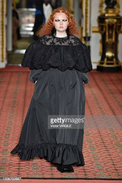 Model walks the runway at the Simone Rocha Ready to Wear Fall/Winter 2020-2021 fashion show during London Fashion Week on February 16, 2020 in...