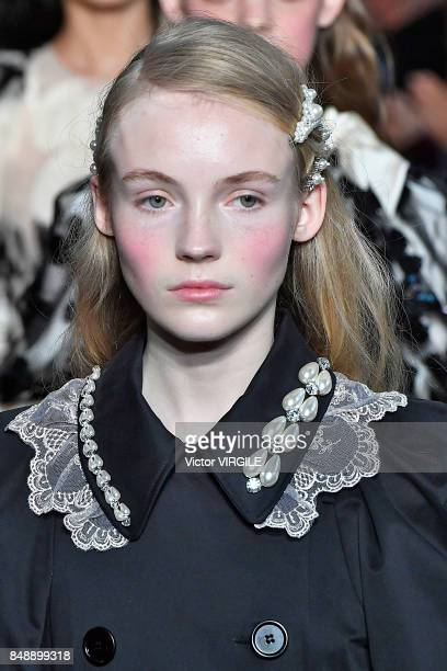 A model walks the runway at the Simone Rocha Ready to Wear Spring/Summer 2018 fashion show during London Fashion Week September 2017 on September 16...