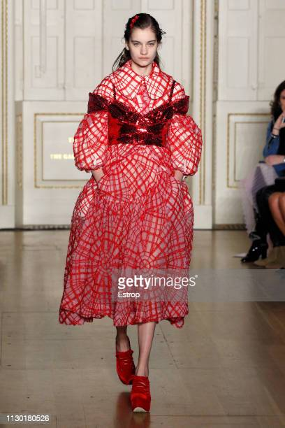 A model walks the runway at the Simone Rocha show during London Fashion Week February 2019 at the Royal Academy of Arts on February 16 2019 in London...
