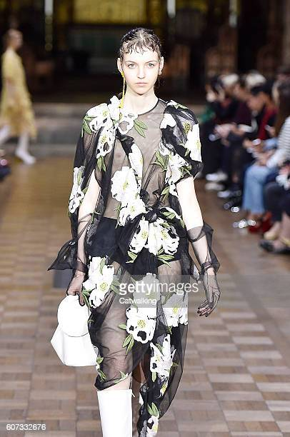 A model walks the runway at the Simone Rocha Spring Summer 2017 fashion show during London Fashion Week on September 17 2016 in London United Kingdom