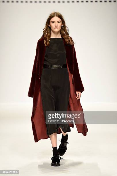 A model walks the runway at the Simonetta Ravizza show during the Milan Fashion Week Autumn/Winter 2015 on February 25 2015 in Milan Italy