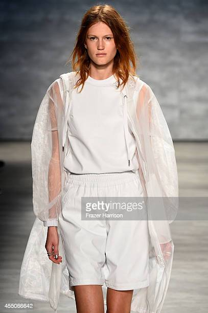 Model walks the runway at the Skingraft fashion show during Mercedes-Benz Fashion Week Spring 2015 at The Pavilion at Lincoln Center on September 9,...