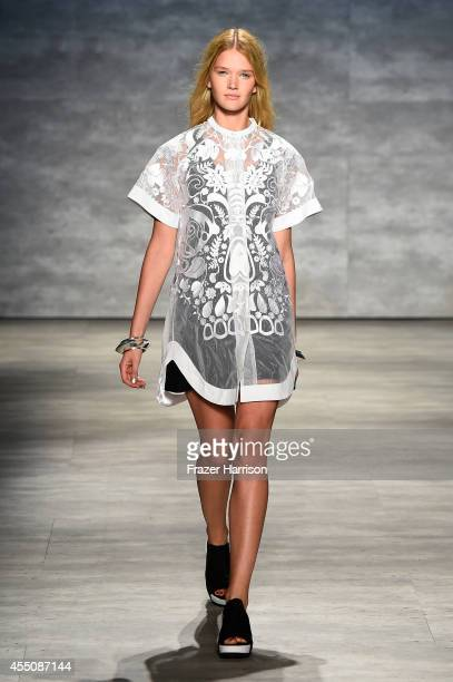 A model walks the runway at the Skingraft fashion show during MercedesBenz Fashion Week Spring 2015 at The Pavilion at Lincoln Center on September 9...