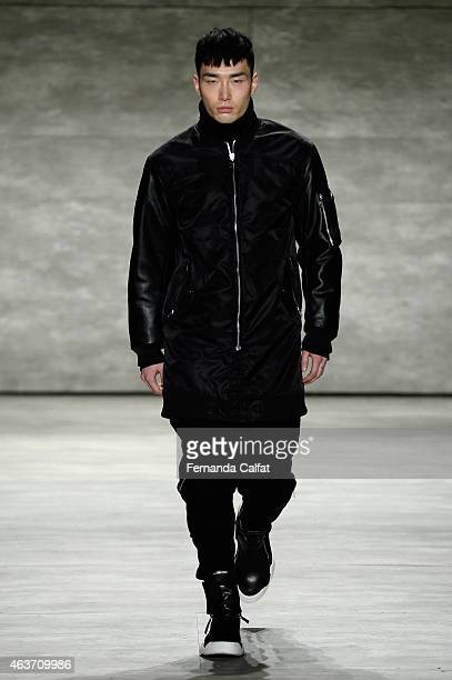 Model walks the runway at the Skingraft fashion show during Mercedes-Benz Fashion Week Fall 2015 at The Pavilion at Lincoln Center on February 17,...