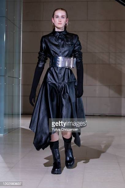 Model walks the runway at the Soeren Le Schmidt show during the Copenhagen Fashion Week Autumn/Winter 2020 on January 28, 2020 in Copenhagen, Denmark.
